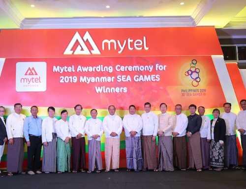 ဆက်သွယ်ရေးအော်ပရေတာ Mytel မှ ၂၀၁၉ ခုနှစ် ဆီးဂိမ်းပြိုင်ပွဲတွင် ဆုရရှိသူ မြန်မာ့အားကစားသမားများကို ဆုချီးမြင့်ပြီး မြန်မာ့အားကစားကဏ္ဍကို ပံ့ပိုးကူညီ